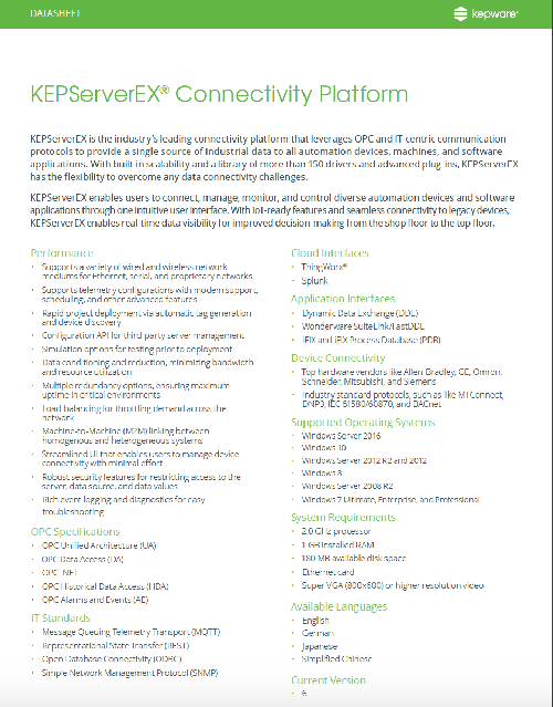 New Products for Engineers | KEPServerEX® | Kepware