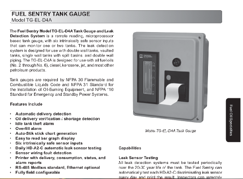 New Products for Engineers   Fuel Sentry Tank Gauge and Leak